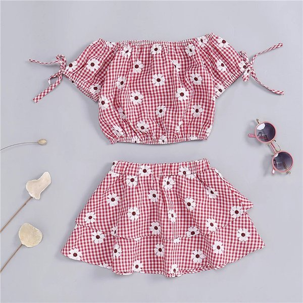 Candy Little Girls Stripes Plaid Tops Ruffled Skirt Suits 2pieces Pink Belt Square Collar Short Sleeve Tees Kids Girls Clothing Outfits 1-6T