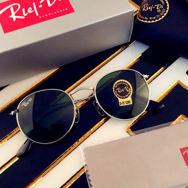 Grossiste-Classique Rond Vintage Sunglasse Hommes Marque Designer 3447 Lentille En Verre Lunettes De Soleil Pour Femmes Unisexe Conduite Lunettes De Soleil Femme