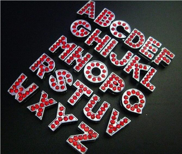 Free Shipping 1300PCS 8MM Red Color Rhinestone Slide Letters Zinc Alloy Letters Fit 8mm Pet Collar Wristbands Belt Express shipp