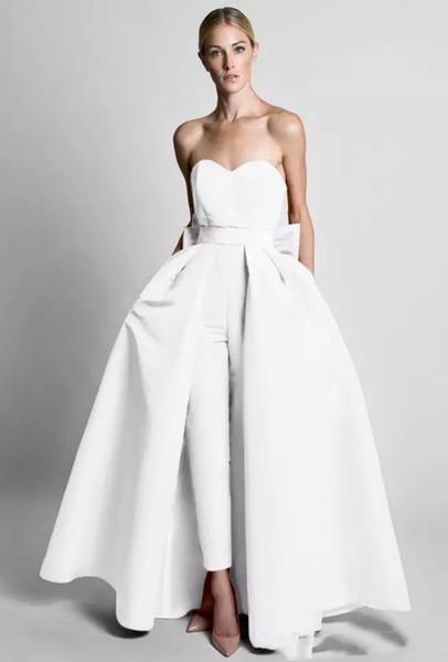 Krikor Jabotian Evening Dresses Jumpsuit Silk Satin Bow Back With Detachable Skirt Formal Dress Sweetheart Neck Floor Length Prom Dress E032