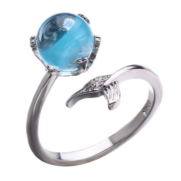 Hot seller mermaid foam ring blue crystal fishtail web celebrity open Crystal ring