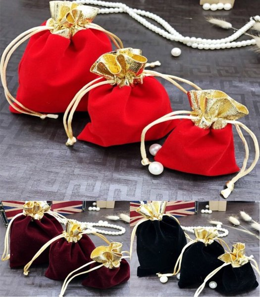 Hot 500pcs Gold Mouth Velvet Jewelry Bags 7x9 10x12 12x15cm Drawstring Wedding Christmas Gift Bags Watch Jewelry Packaging Bags