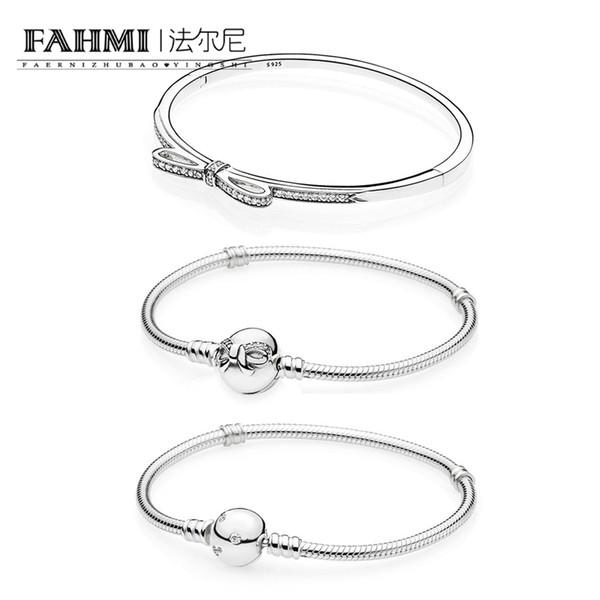 FAHMI 100% 925 Sterling Silver Shiny Delicate Bow, Transparent CZ MOMENTS Bracelet Bracelet DIY Beaded Pendant Gift 590536CZ 590731CZ