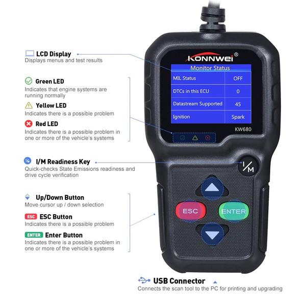 Konnwei KW680 lector de código 5pc / lot escáner Función obd2 multilingüe completa kw 680 En la herramienta de diagnóstico de automóviles rusa pk AD310 OM123