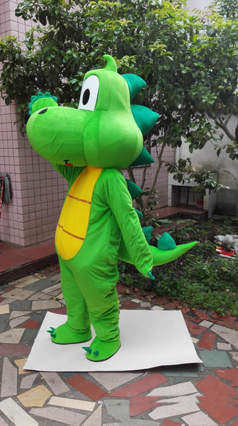 top popular 2019 Factory sale Green dragon Dinosaur Mascot Costume Cartoon Clothing Adult Size Fancy Dress Party Free Shipping 2020