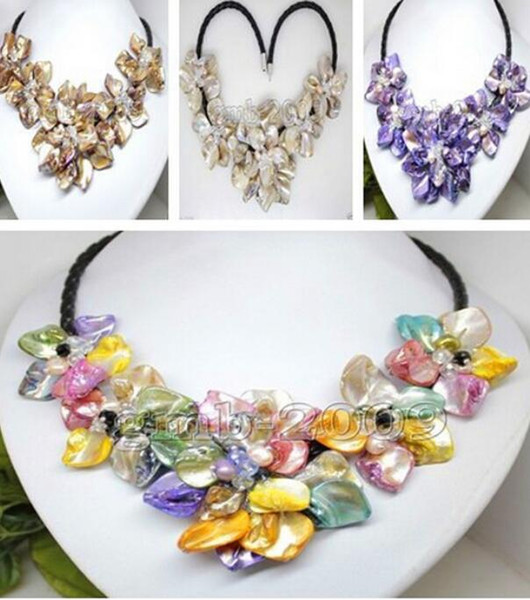 """FREE SHIPPING++ + 8 colorsHand Woven Yellow Shell 5 Flowers Pearl Crystal Black Leather Bib Necklace 18"""""""
