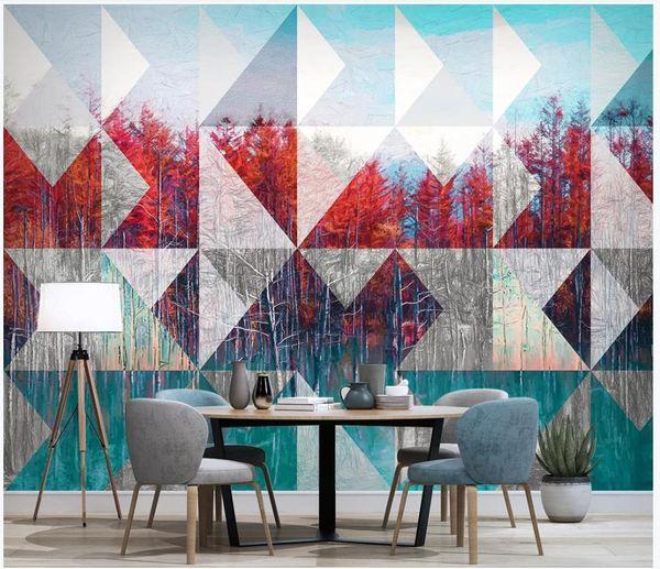 Fondos de pantalla de fotos personalizados Murales en 3D Fondos de pantalla pintados a mano Pintura al óleo europea paisaje moderno árbol TV fondo papeles de pared decoración del hogar