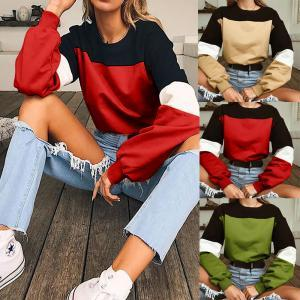 Women Patchwork Drawstring Sweater Loose Casual Sweatshirt Crop Tops Hoodie Long Sleeve short Pullover T-Shirt Tops home clothing AAA1719