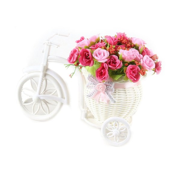 Artificial Flower and Wheeled Tricycle (Basket) with Bowknot Bonsai Set Home Decor Props for Living Room/Office