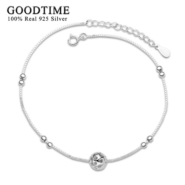 925 Sterling Silver For Women Exquisite Hollow Heart Ball Anklet Fashion Foot Jewelry Gift Ankle Bracelet Beads Anklets C19041101