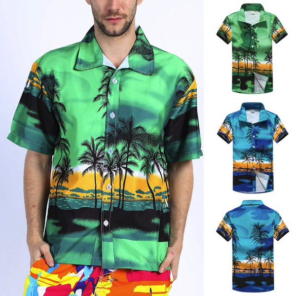 Men Hawaiian Shirt Summer Casual Short Sleeves Shirt Sports Beach Quick Dry Blouse Top Blouse Men camisas de hombre chemise 2019