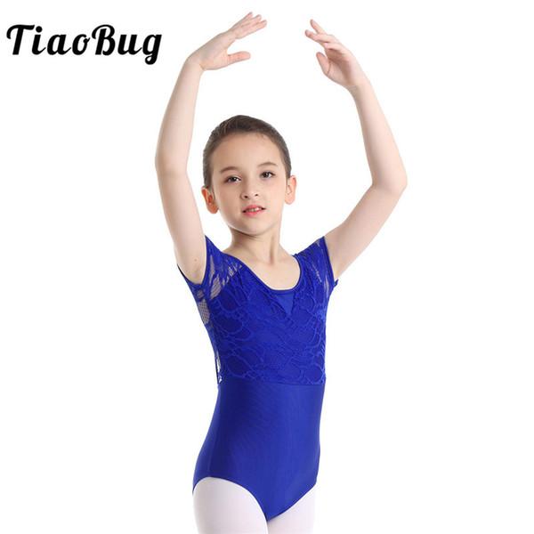 TiaoBug Crianças Adolescentes Lace Floral Bodysuit Esportes Collant Ballet Collant Crianças Ginástica Leotard Meninas Traje de Dança de Palco