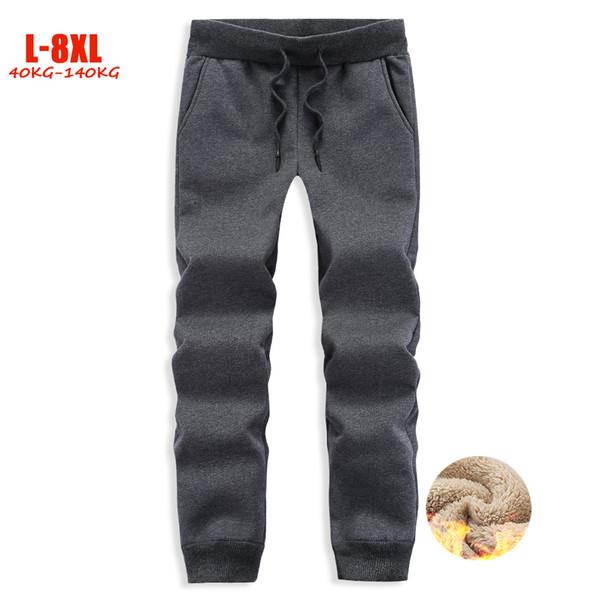 Winter Casual 6XL 7XL 8XL Plus Size Sweatpants Men Thick Fleece Jogger Pants Male Fitness Trousers for 40kg-140kg Big size men