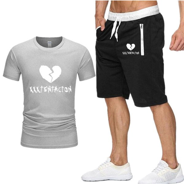 New Men Sets t shirt+shorts men Brand clothing Xxxtentacion Harajuku tracksuit Fashion Casual Tshirts Workout Fitness Streetwear D2