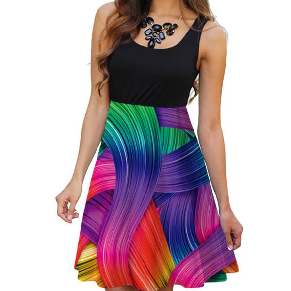 feitong boho dresses summer 2019 Women Casual Sleveless Print Casual Beach Vintage Boho Summer Short Mini Dress femme vestidos