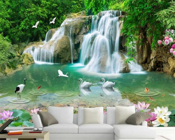 Custom Wallpaper Natural Mural HD landscape Lotus goldfish waterfall wallpaper Living Room Backdrop 3d wallpaper mural