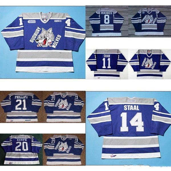 Customize OHL Sudbury Wolves Jersey 8 Mikhnov 21 Ryan Philips 20 Adam Keefe 11 Jeff Shaw Mens Womens Kids Hockey Jerseys Goalit Cut