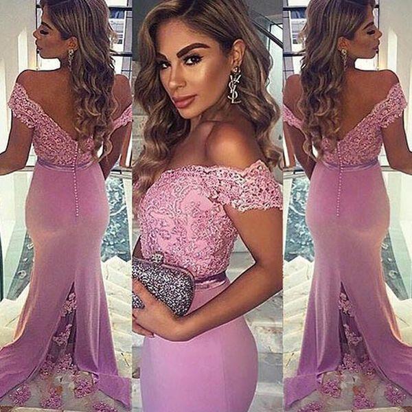 Off Shoulder Lace Mermaid Prom Dresses Appliques Covered Buttons Evening Dresses Robe de soirée Formal Party Gowns