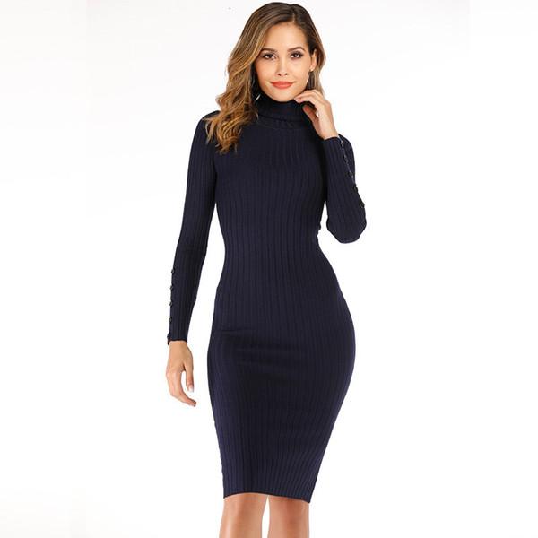 Сексуальный черный свитер платье женщин Водолазка с длинным рукавом Над коленом Bodycon платье Управление леди Короткие Осень Зима Пуловер 2019