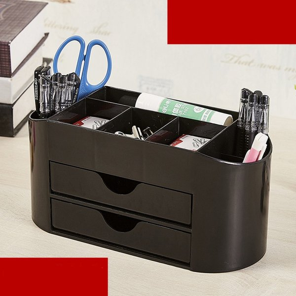 8 Case Plastic Desk Organizer Black Multi Function Pen Container Business Card Storage Box Office Supplies Stationery Pencil Holder 15jbb1