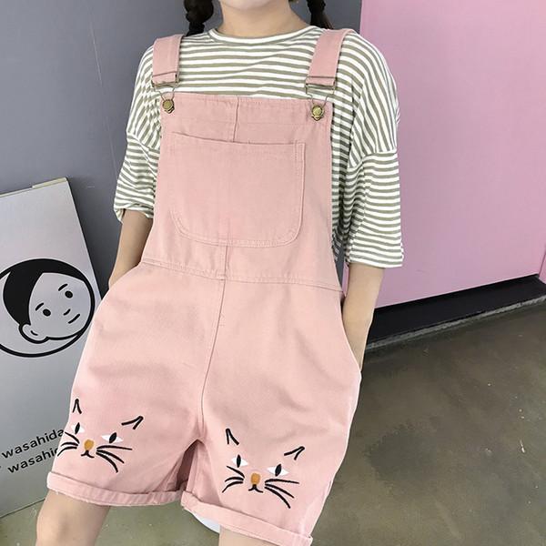 Monos cortos sueltos y monos mono para mujer 2018 Summer Cat Denim Romper Solid Plus Size Jean Overol Y19072001