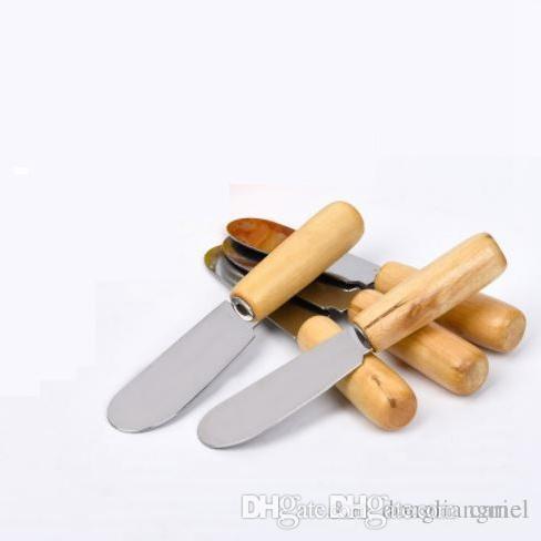 best selling Cariel Stainless Steel Cutlery Butter Spatula Wood Butter Knife Cheese Dessert Jam Spreader Breakfast Tool 30PC wn596B