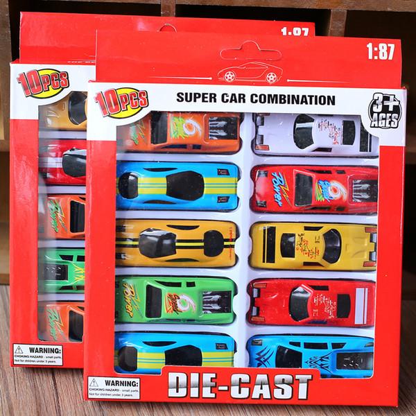 New Kids Jouets voiture 10pcs / Lot alliage Pull Back Racing Jeux d'enfants Voitures Modèles alliage Toy Box Retour Voitures jouets scooters voiture Paquet
