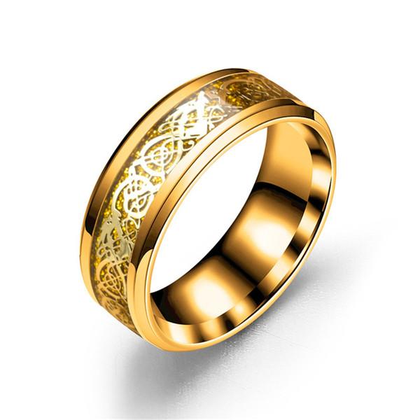 8mm de Aço Carboneto De Titânio Anel De Noivado de Prata Do Dragão Do Ouro Anéis de Dedo Chinês Inlay dragon Band Anel Amor Anéis De Casamento para Homens mulheres