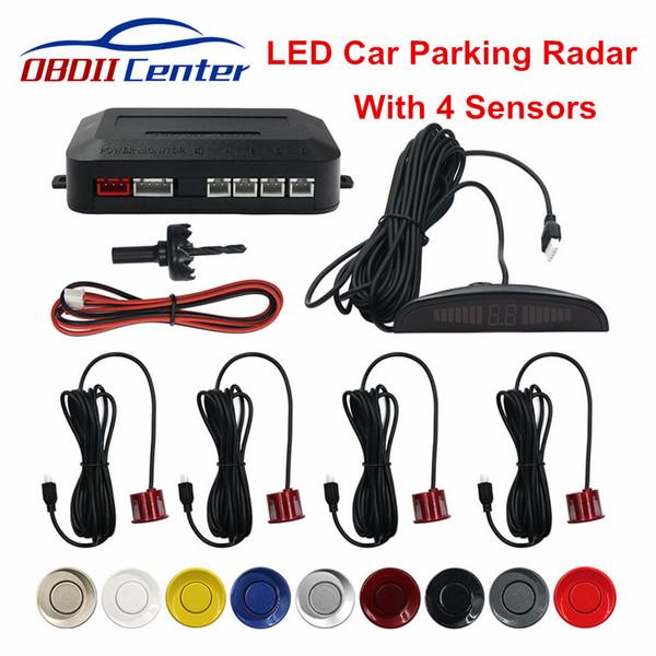 Parking capteur LED Autoreverse Radar de sauvegarde avec 4 capteurs Automobile Parking Système de détection sonore d'alerte radar Back Up