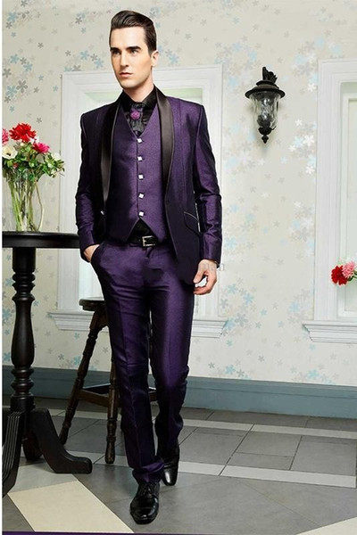 Excellent Groom Tuxedos Purple Shiny Mens Wedding Tuxedos Black Lapel Man Jacket Blazer Popular Prom/Dinner Suit(Jacket+Pants+Vest+Tie) 76