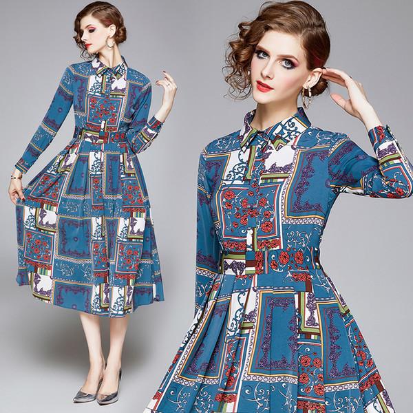 High-End-Frauen-Kleid-lange Hülse gedrucktes Midi-Kleid 2020 Frühlings-Herbst-Kleid Temperament Dame Kleider