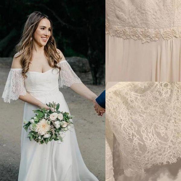 Romantic Off-the-shoulder Bell Sleeve Lace and Chiffon Simple Wedding Dresses Pearls Beading Cheap Bridal Dresses vestidos de novia