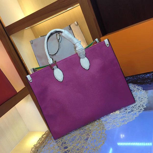 top popular Designer Women Rainbow Handbags Fashion Hot New Large Bags Strap Shoulder Bags Top Quality L Letter Genuine Leather Crossbody Tote Bag 41cm- 2019