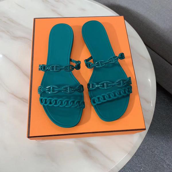 2019 Designer De Luxe Chaussures Femmes Sandales Avec Chaîne Plat Flip Flops Pantoufles Parti Chaussures De Mariage Avec