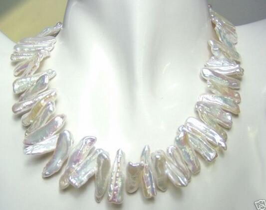 Großhandel gute 6-13mm abnorme Form weiße Perlenkette 17