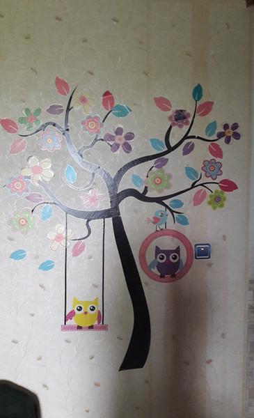 DIY Owl Bird Tree Wall Sticker Home Decor Room for Kids Living room Decals Children Baby Nursery Decorative Wallpapers stickers