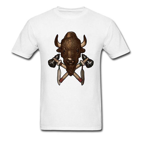 Tête De Buffalo Et Tomahawks 100% Coton T Shirt Hommes Drôle Top T-shirts Geek Haute Qualité Crew Neck Tee - Chemises À Manches Courtes