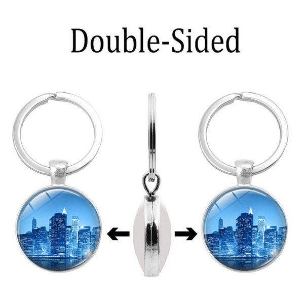 Cross-border new double-sided keychain Beautiful night time gem double-sided keychain Alloy key ring pendant gift wholesale