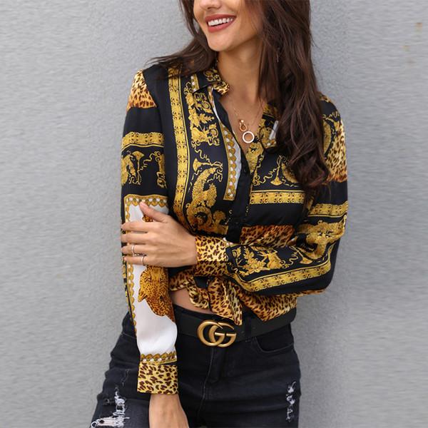 2019 Primavera Mujeres Leopardo Nudo Blusa Frontal Camisa Señora de la Oficina Elegante Cuello Largo Camisa Botón de Manga Larga Streetwear T190711