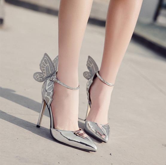 Fantezi Kelebek Pembe Tek Omuz Askısı Stiletto Elbise Sandalet Süper Seksi Yüksek Topuk bayan Ayakkabıları 3 Renk EU35 için 40