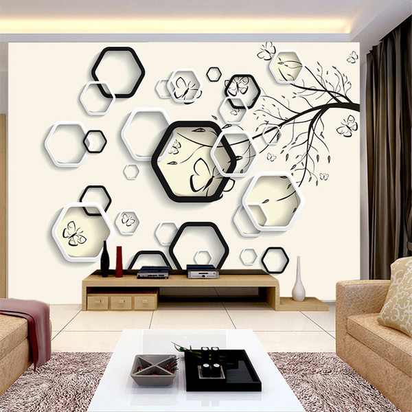 Modern plain 3D Geometric pattern abstract tree design wallpaper for living room sofa background bedroom wall mural home decor