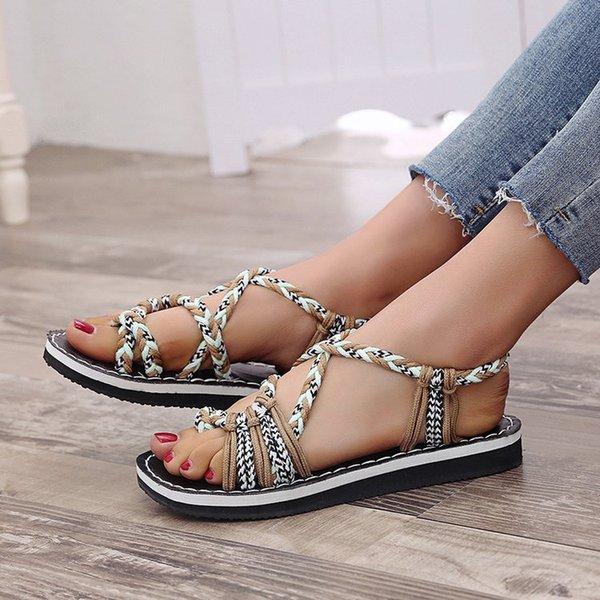 Acheter Femmes Sandales Chaussures D'été De Mode Femme Sandale Plat Chanvre Corde À Lacets Gladiateur Sandales Non Slip Plage Chaussures Femme De