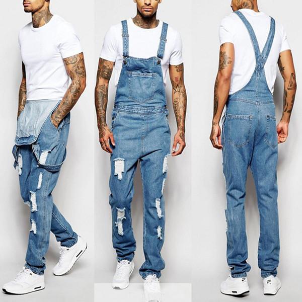 Jeans déchirés pour hommes de mode combinaisons trou en détresse Denim cowboy bavoir salopette pantalon homme maigre mince pantalon, plus la taille s-3xl