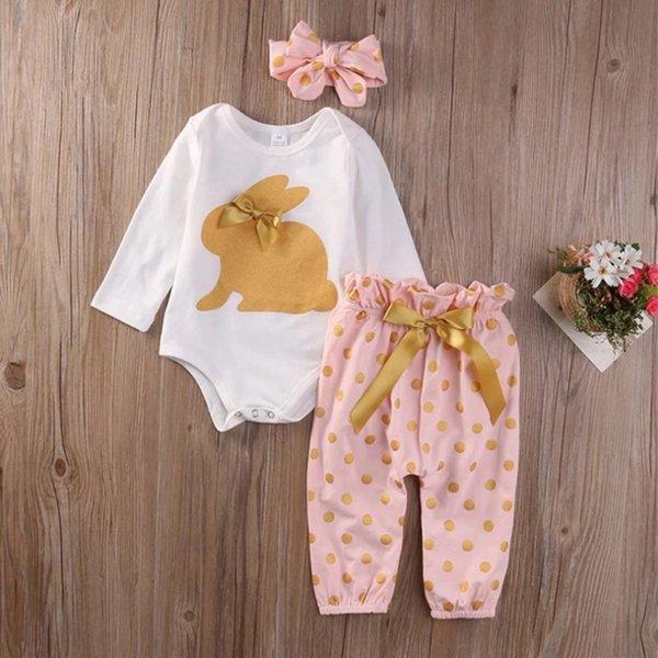 Bebek Kız Giyim Setleri Paskalya Bunny Baskılı Pantolon Tops Kafa 3 adet Set Uzun Kollu Tees Dot Pantolon Sevimli Çocuk Giysileri DHW1906