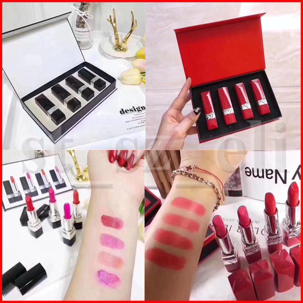Conjunto de maquiagem lábio famoso 4 pçs / set Matte 4 cores batom fosco tipo preto vermelho com caixa