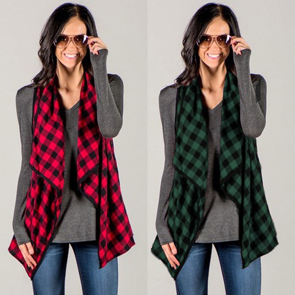 Vest Women Gilet Check Plaid Waistcoat Celmia 2018 Autumn Chaleco Mujer Colete Sleeveless Jacket Cardigan Outwear Coat Plus Size