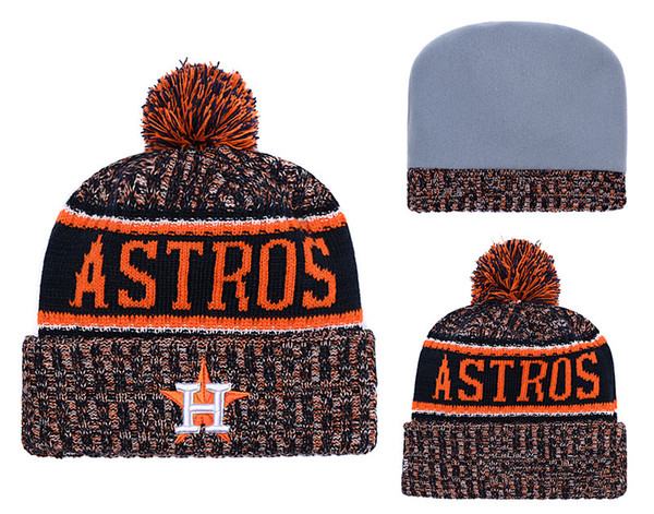2018 New Sport Baseball Skullies Hat Pom Cuffed Knitted Hats With Embroidered Team Logo Fans Fashion Houston Winter Warm Women Beanies