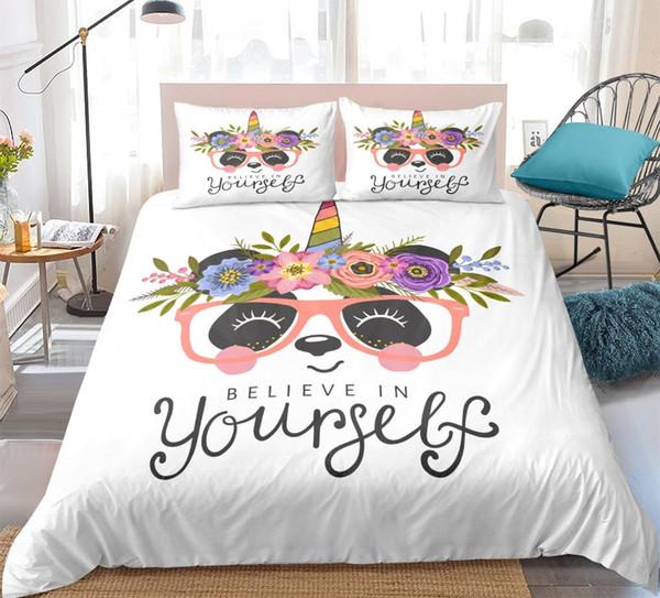 3D Unicorn Panda Print Bedding Set Duvet Cover Set Cute cartoon animals Bedclothes kids girls Bed Home Textiles