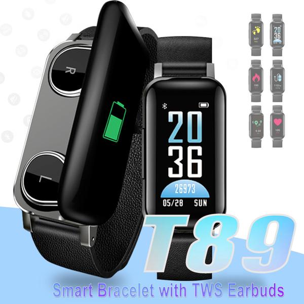 TWS Earbuds Pulseira Inteligente Bluetooth 5.0 Pulseira Inteligente T89 Rastreador De Fitness Relógios de Freqüência Cardíaca para IOS Android Smartphones com Caixa De Varejo