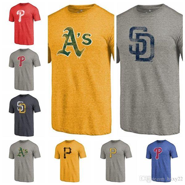 Diego Padres Pirates Phillies Pittsburgh Phillies Philadelphia Atletizm Oakland Sıkıntılı Takımı Tri-Blend Tişört